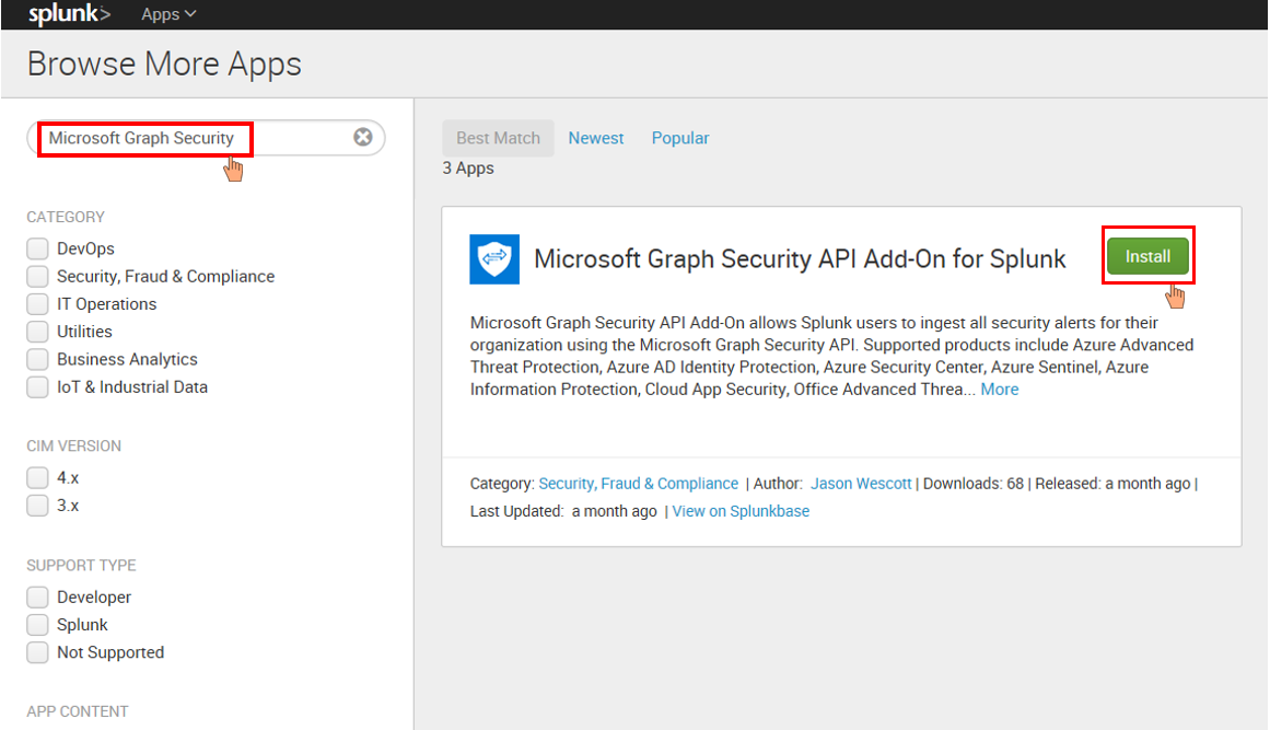 Figure 9. Microsoft Graph Security add-on