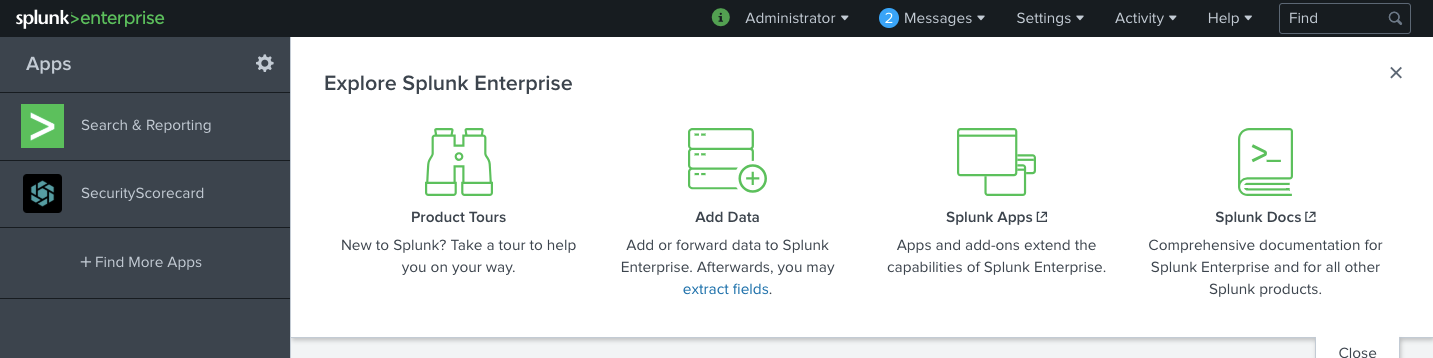 SecurityScorecard Splunk app is installed