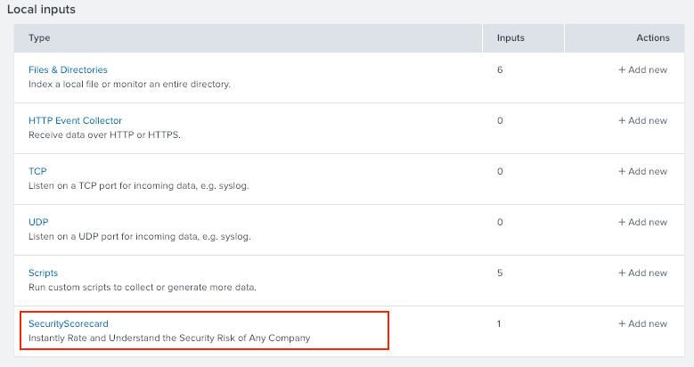 SecurityScorecard Data Input