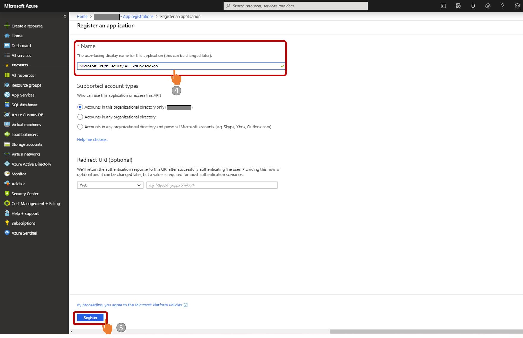 Figure 2. Register application screen
